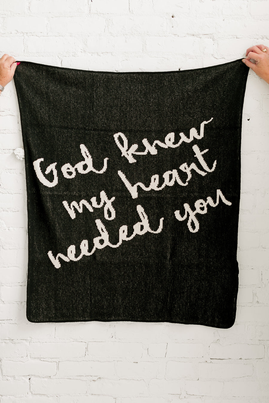 *NEW* Made in the USA | Recycled Cotton Blend  God knew my heart needed you Throw Blanket | Black