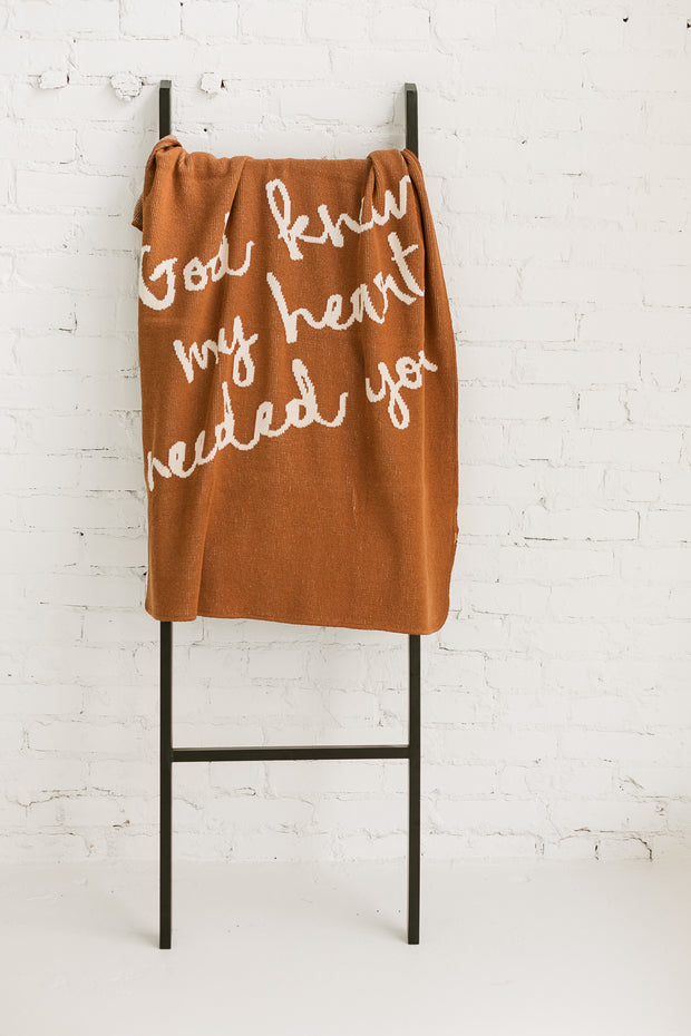 Made in the USA | Recycled Cotton Blend  God knew my heart needed you Throw Blanket | Caramel 1