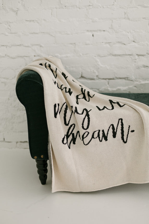 Made in the USA   Recycled Cotton Blend  May We Wander May You Dream Throw Blanket   Natural 1