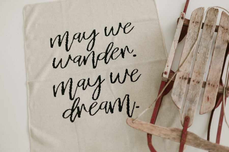 *NEW* Made in the USA | Recycled Cotton Blend  May We Wander May You Dream Throw Blanket | Natural