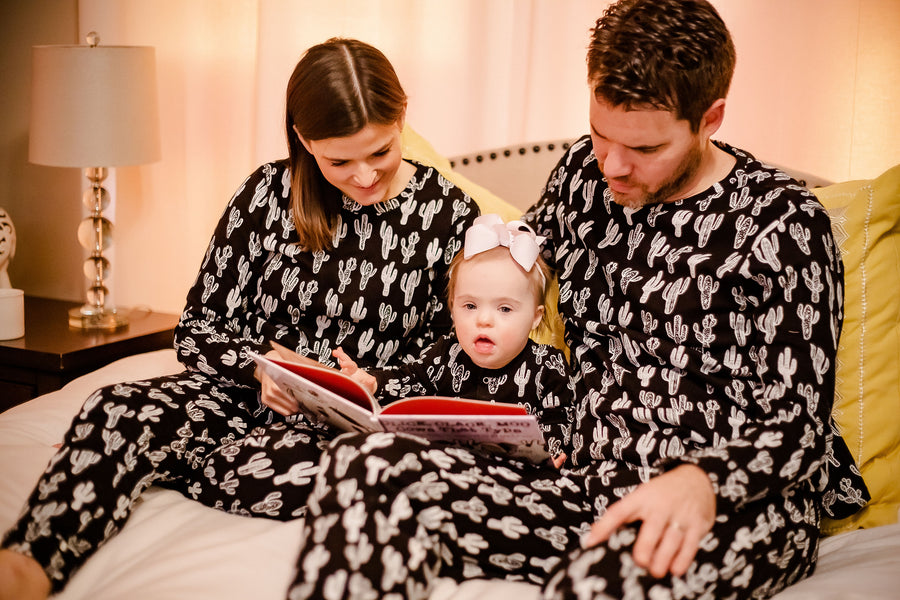 Men's Organic Pajama Set  -  WHITE ON BLACK CACTUS©