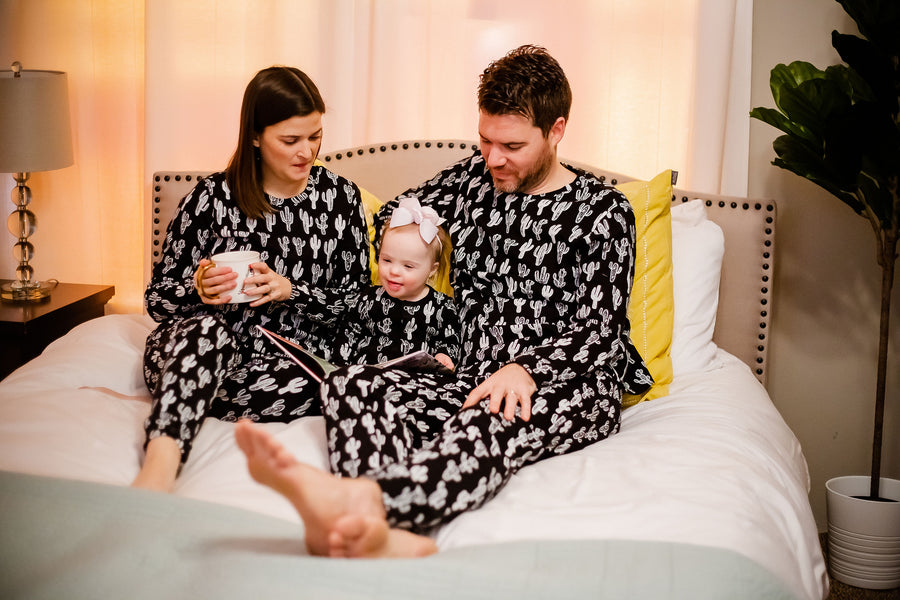 Women's Pajama Set in Organic Cotton -  WHITE ON BLACK CACTUS©