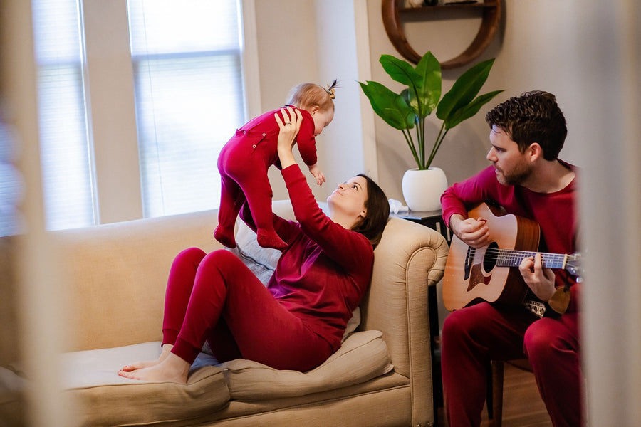 Women's Pajama Set in Organic Cotton -  MAROON
