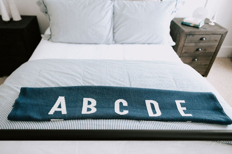 *NEW* Made in the USA | Recycled Cotton Blend  ABC Throw Blanket | Slate