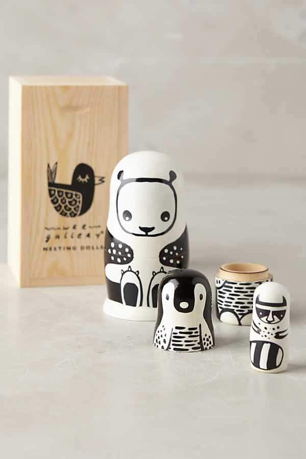Load image into Gallery viewer, Wee Gallery - Black and White Nesting Dolls - Animals