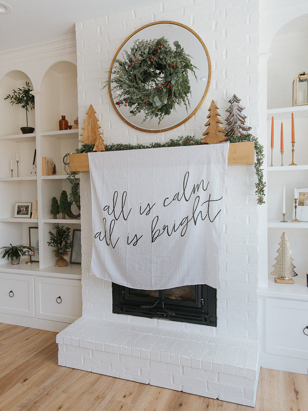 Organic Cotton Muslin Swaddle Blanket + Wall Art -  All is calm all is bright 1