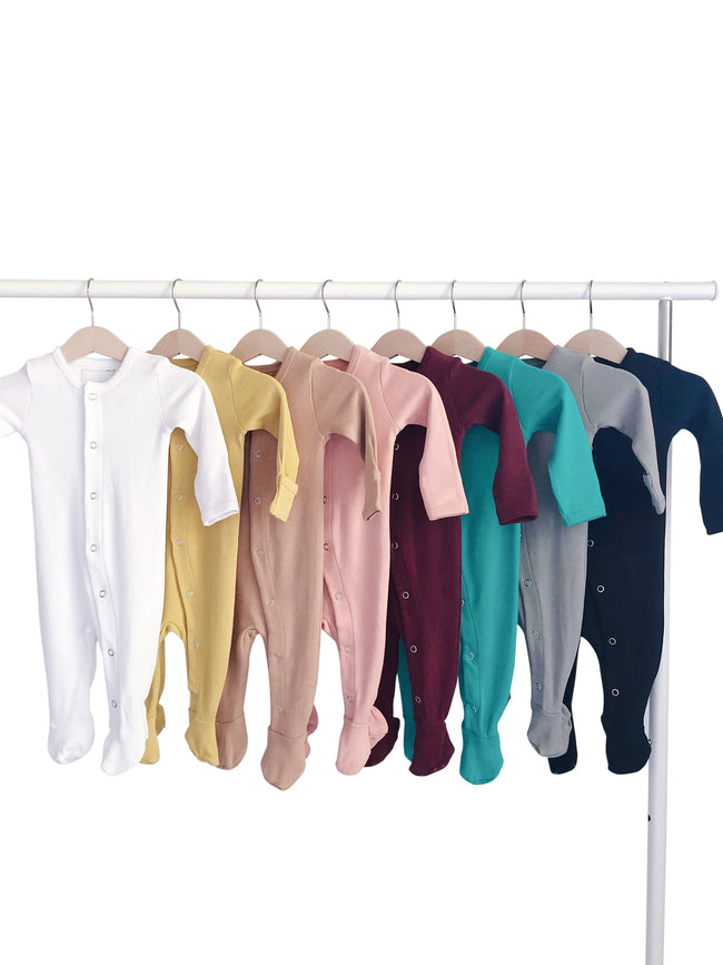 Organic Button Footie - SOLID COLORS