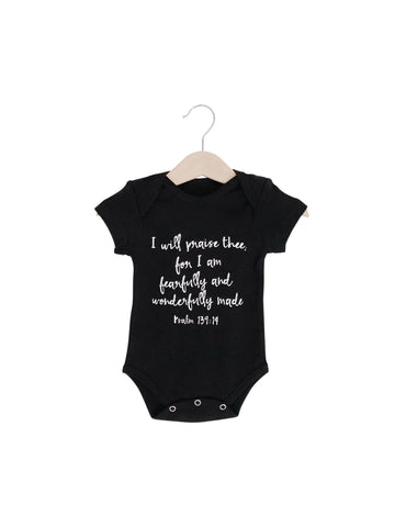 Organic Short Sleeve Bodysuit -  Psalm 139:14