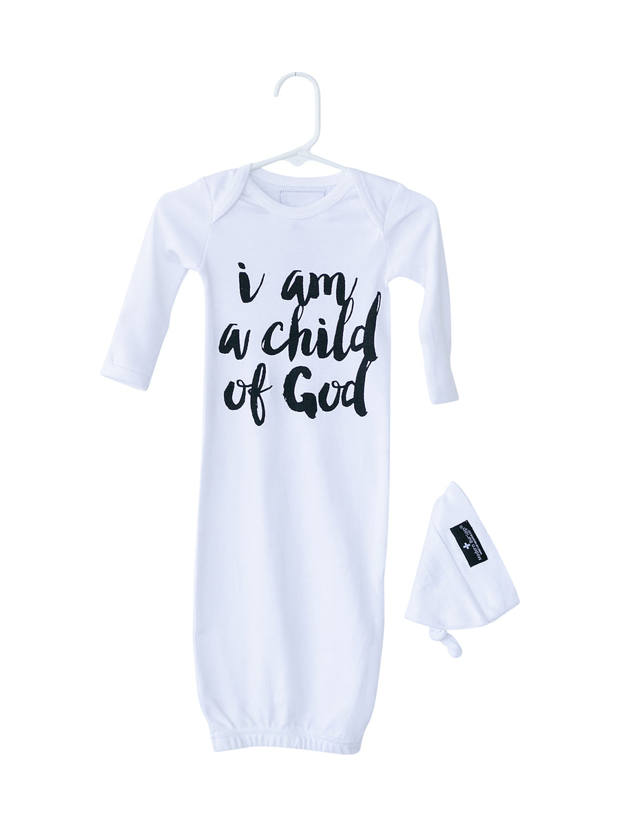Organic Knot Hat + Gown Set ☆ BLACK ON WHITE I am a child of God