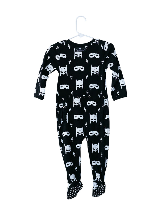 Organic Button Footie with Explorer Back - Prints 1