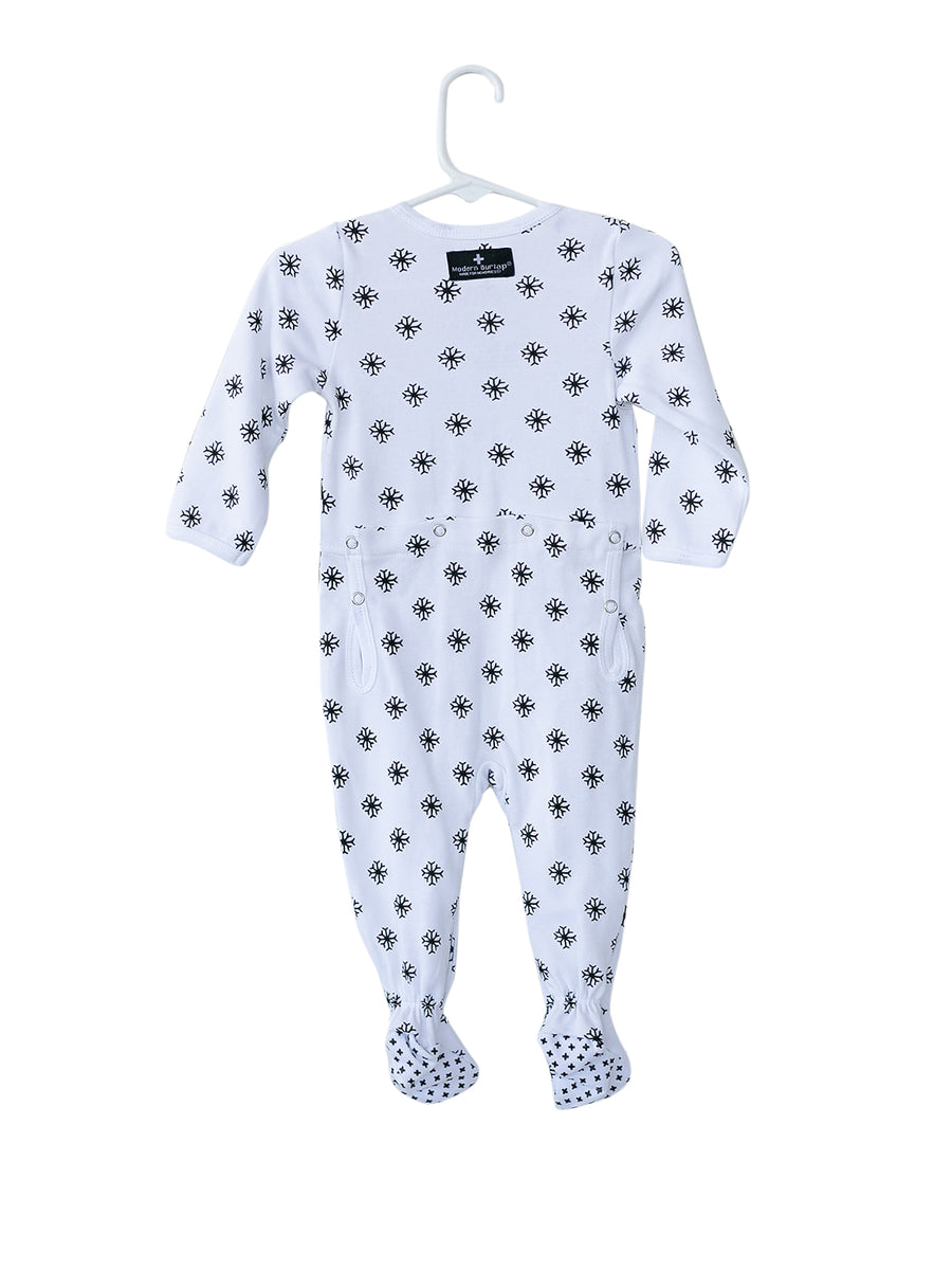 Organic Button Footie with Explorer Back - Prints