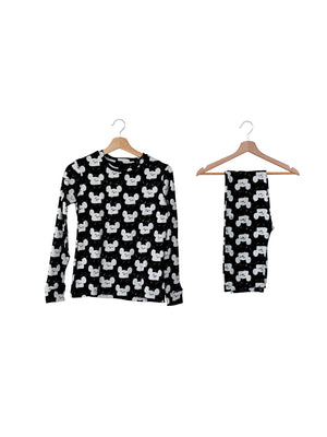 Load image into Gallery viewer, Women's Pajama Set in Organic Cotton -  WHITE ON BLACK MODERN MOUSE