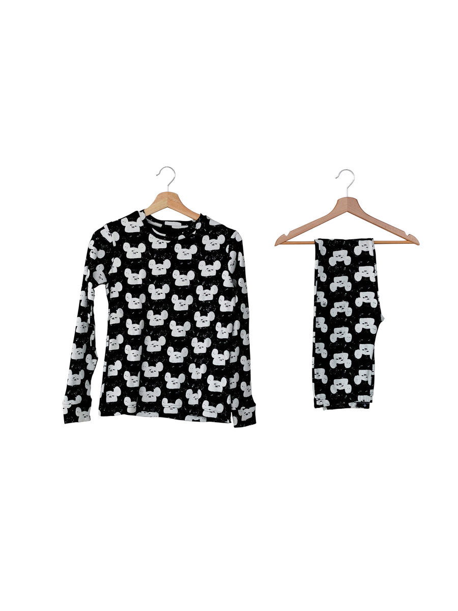 Women's Pajama Set in Organic Cotton -  WHITE ON BLACK MODERN MOUSE