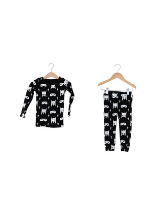 Load image into Gallery viewer, FINAL SALE - Organic Pajama Set -  WHITE ON BLACK HERO STRUCK©