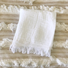 Organic Cotton Muslin Swaddle Blanket -  White Fringe