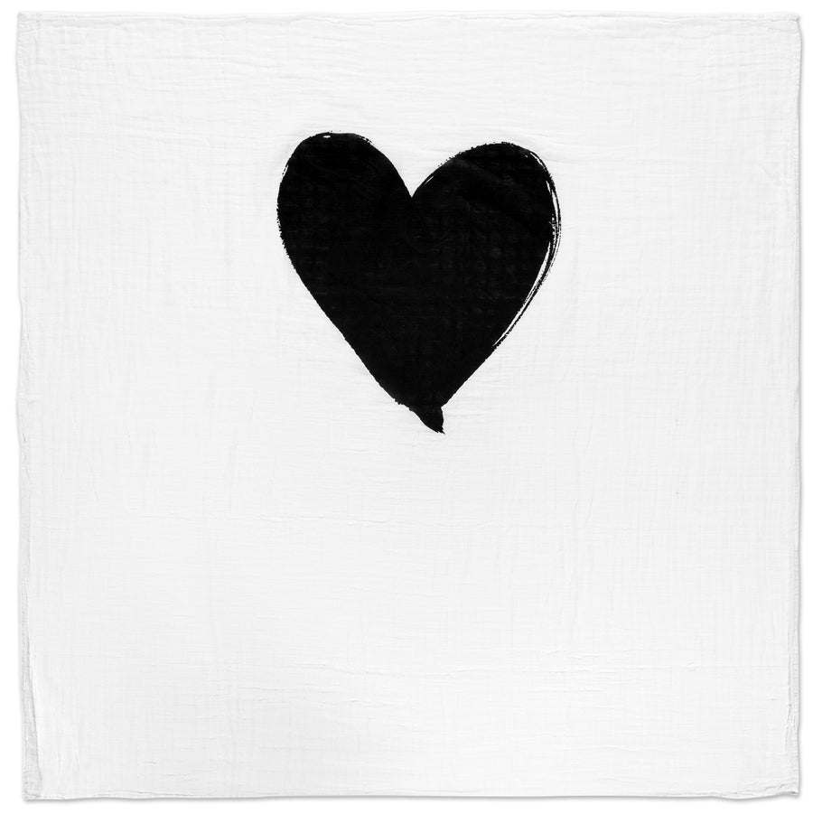 Organic Cotton Muslin Swaddle Blanket -  Single Heart