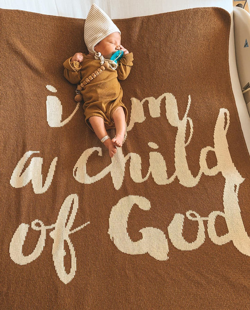 Made in the USA | Recycled Cotton Blend  I am a child of God Throw Blanket | Caramel