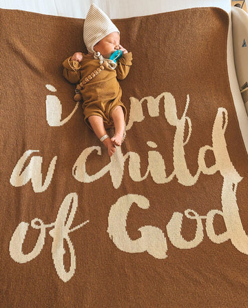 *NEW* Made in the USA | Recycled Cotton Blend  I am a child of God Throw Blanket | Caramel