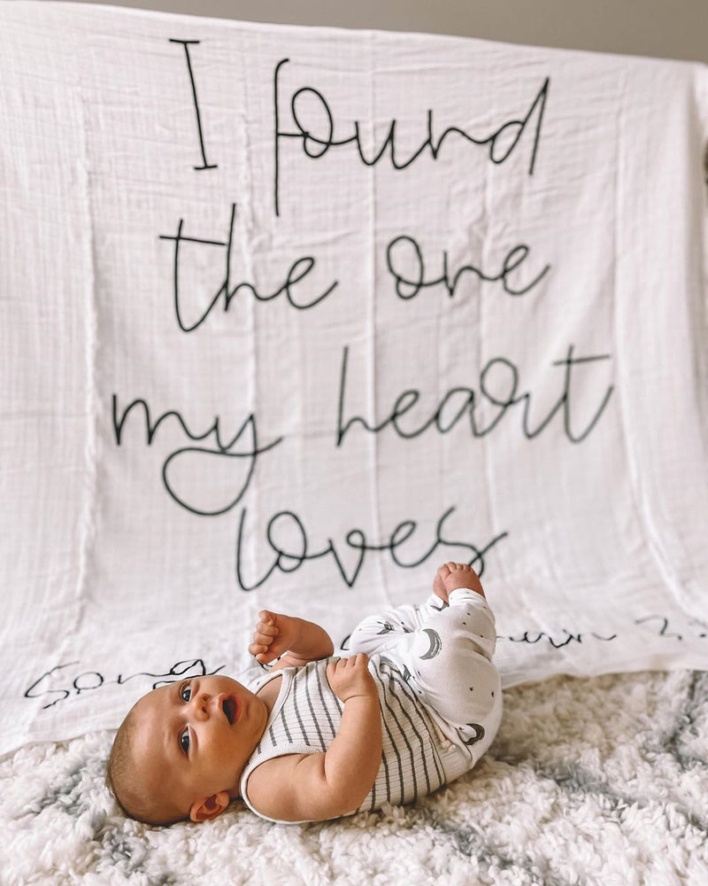 Organic Cotton Muslin Swaddle Blanket + Wall Art - Song of Solomon 3:4 I found the one my heart loves