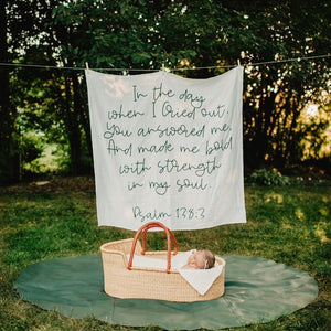 Organic Cotton Muslin Swaddle Blanket + Wall Art - Psalm 138:3 In the day when I Cried out, You answered me, And made me bold with strength in my soul.