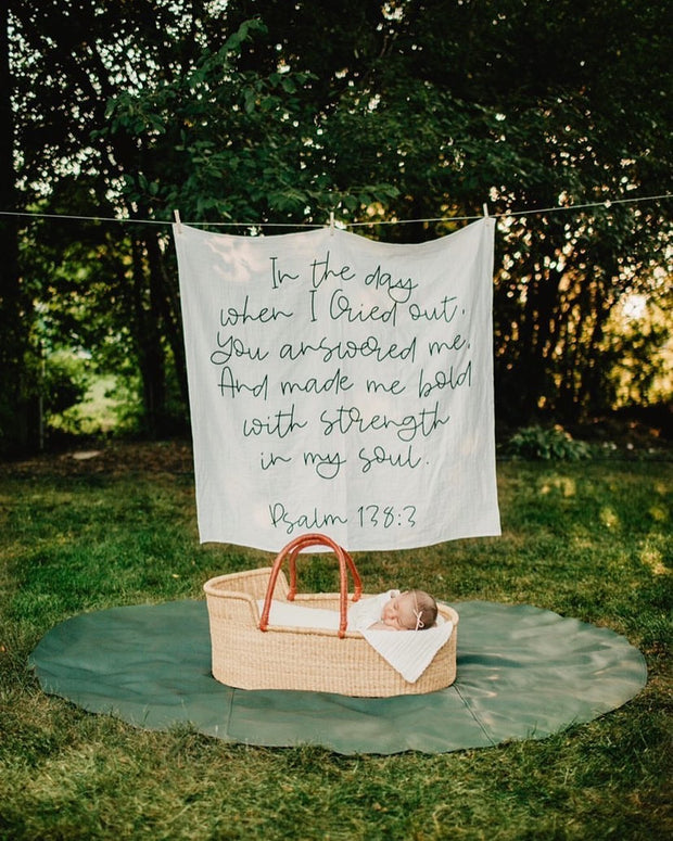 Organic Cotton Muslin Swaddle Blanket + Wall Art - Psalm 138:3 In the day when I Cried out, You answered me, And made me bold with strength in my soul. 1
