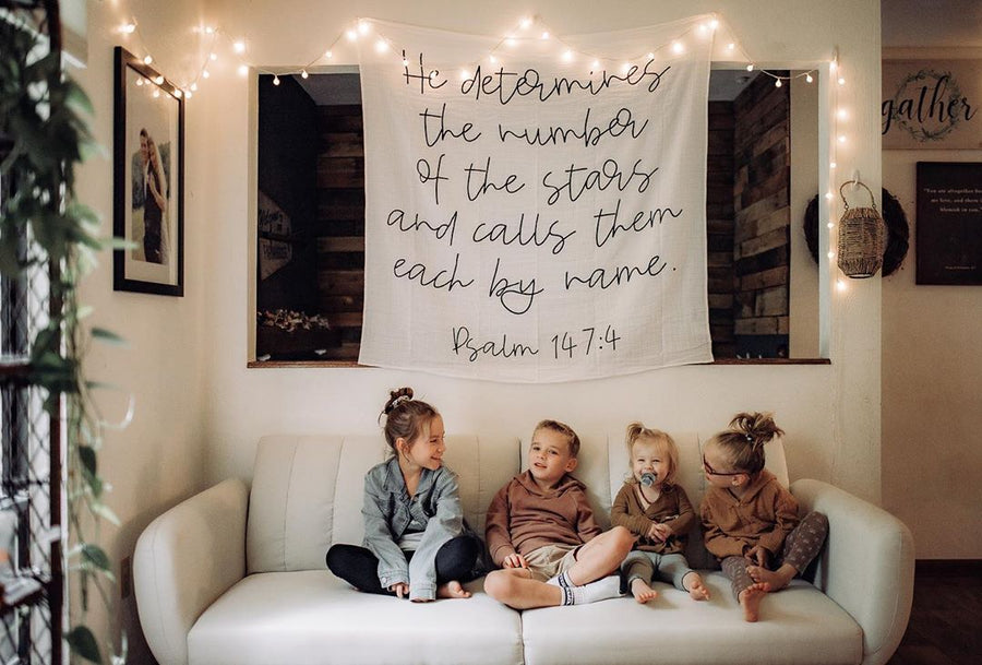 *NEW* Organic Cotton Muslin Swaddle Blanket + Wall Art - He determines the number of the stars and calls them each by name. Psalm 147:4