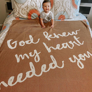 Made in the USA | Recycled Cotton Blend  God knew my heart needed you Throw Blanket | Caramel