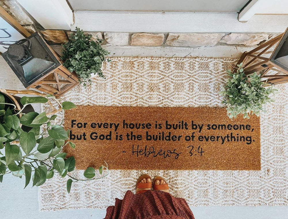 XL Scripture Doormat | Hebrews 3:4