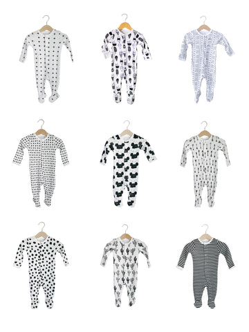 Organic Button Footie -  Prints