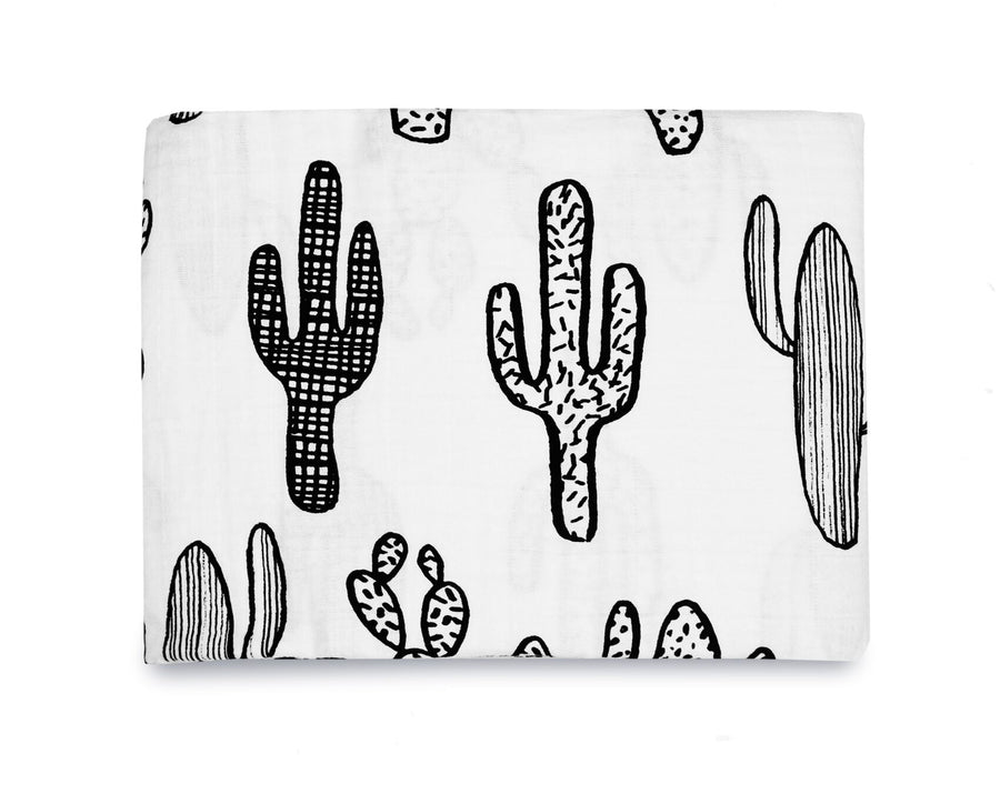 Organic Cotton Muslin Swaddle Blanket -   Cactus ©