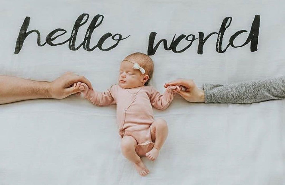 Load image into Gallery viewer, Organic Cotton Muslin Swaddle Blanket + Wall Art -   Hello World