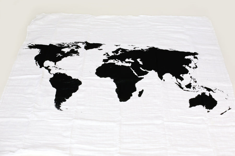 *JUST RESTOCKED* Organic Cotton Muslin Swaddle Blanket + Wall Art -  WORLD MAP