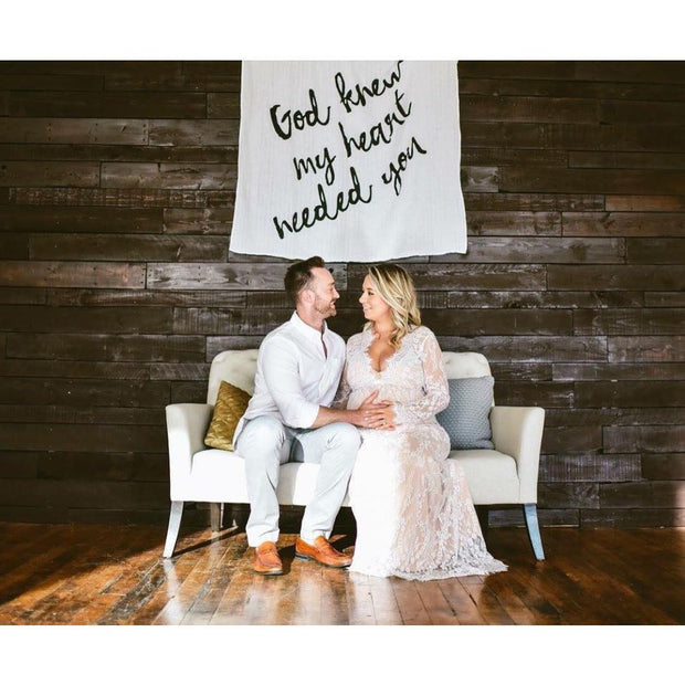 Organic Cotton Muslin Swaddle Blanket + Wall Art -   God knew my heart needed you™ 1