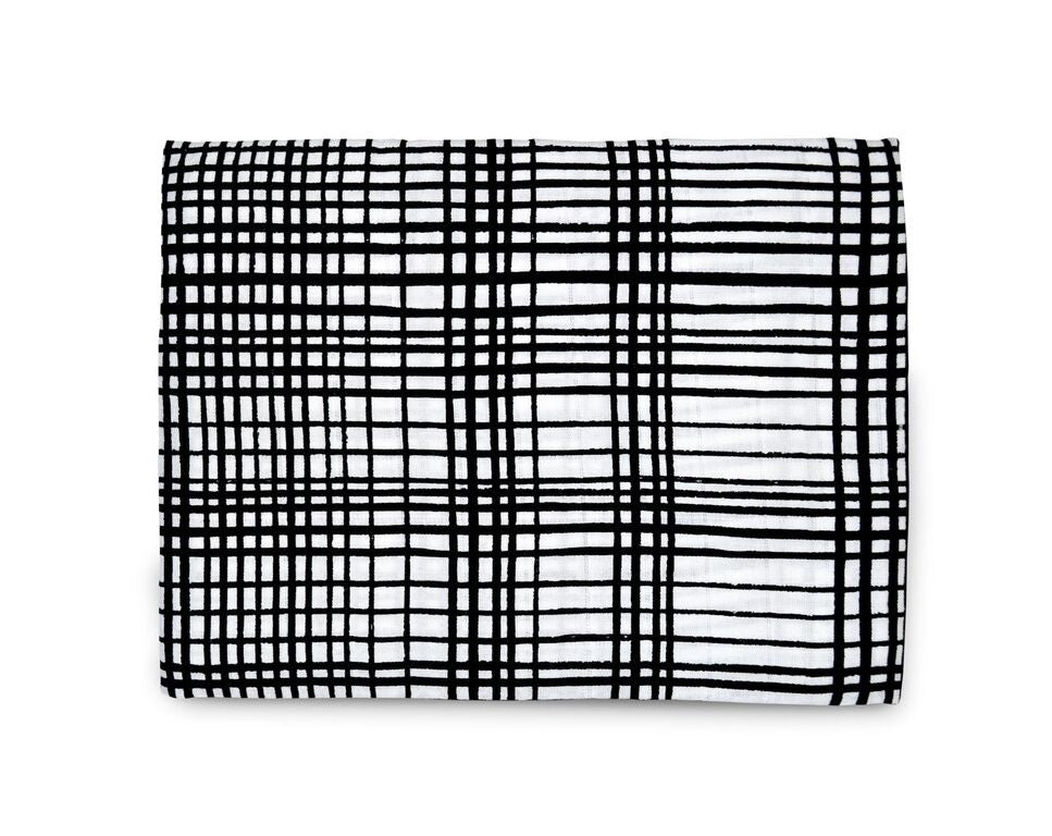 Organic Cotton Muslin Swaddle Blanket - GRID