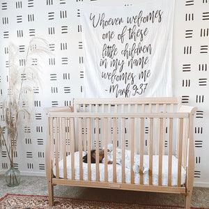 Organic Cotton Muslin Swaddle Blanket + Wall Art - Mark 9:37  Whoever welcomes one of these little children in my name welcomes me; and whoever welcomes me does not welcome me but the one who sent me.