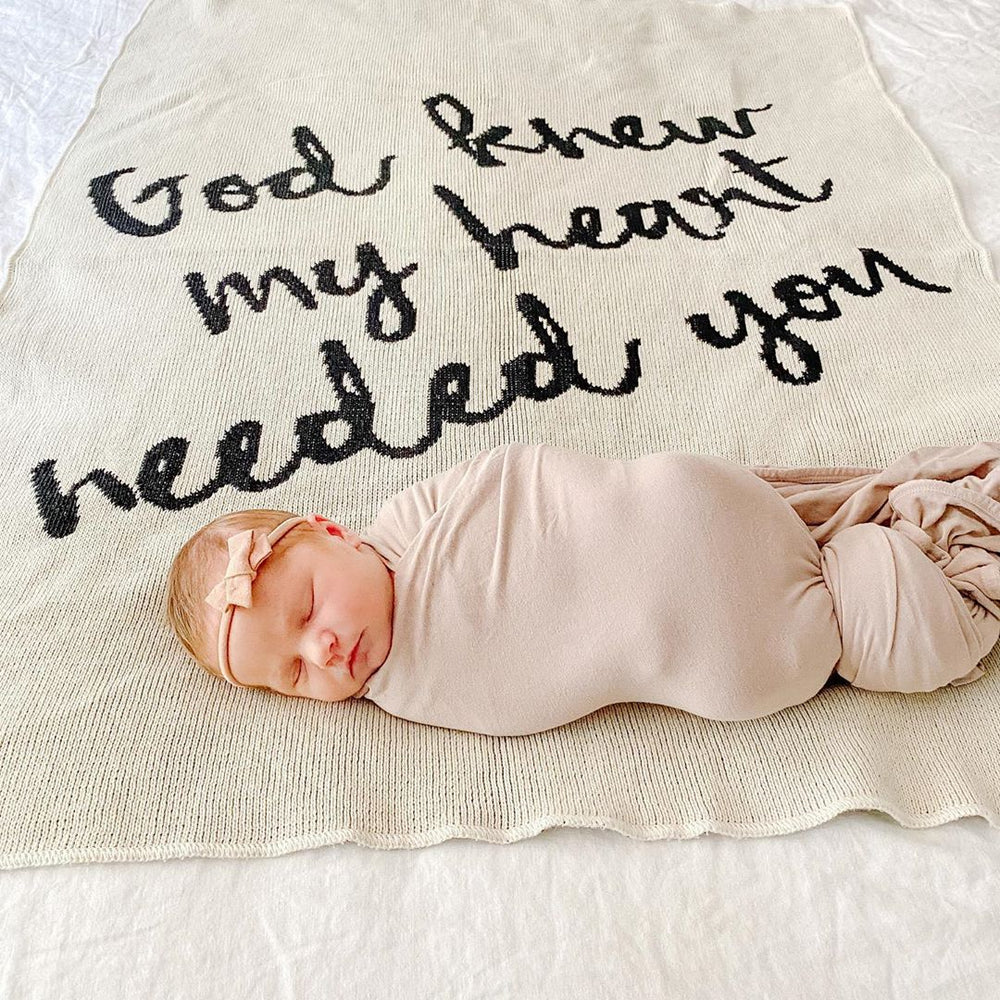 Load image into Gallery viewer, Made in the USA | Recycled Cotton Blend  God knew my heart needed you Throw Blanket | Natural