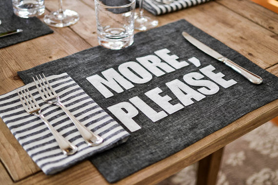 Graphite Linen Placemats ☆ several phrases to choose from