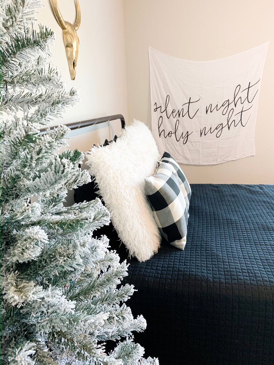 Organic Cotton Muslin Swaddle Blanket -  Silent night holy night