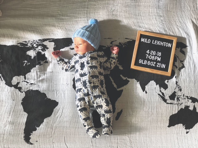 Load image into Gallery viewer, Organic Cotton Muslin Swaddle Blanket + Wall Art -  WORLD MAP