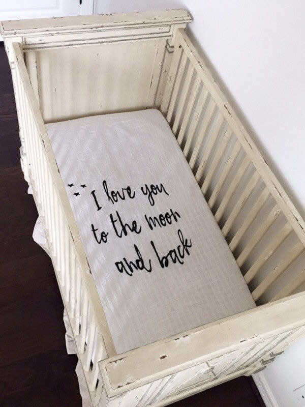Load image into Gallery viewer, ORGANIC CRIB SHEET -  I LOVE YOU TO THE MOON AND BACK