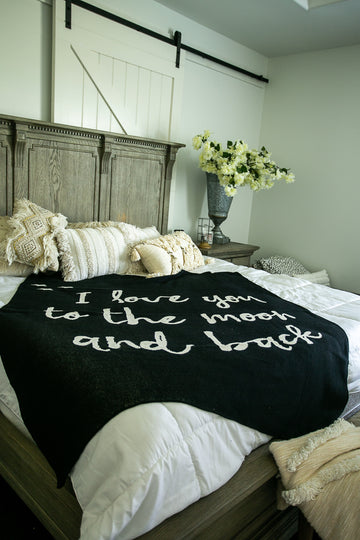 *NEW* Made in the USA | Recycled Cotton Blend I love you to the moon and back Throw Blanket | Black