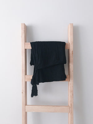 Load image into Gallery viewer, Organic Cotton Muslin XL Throw Blanket -   Onyx Tassels