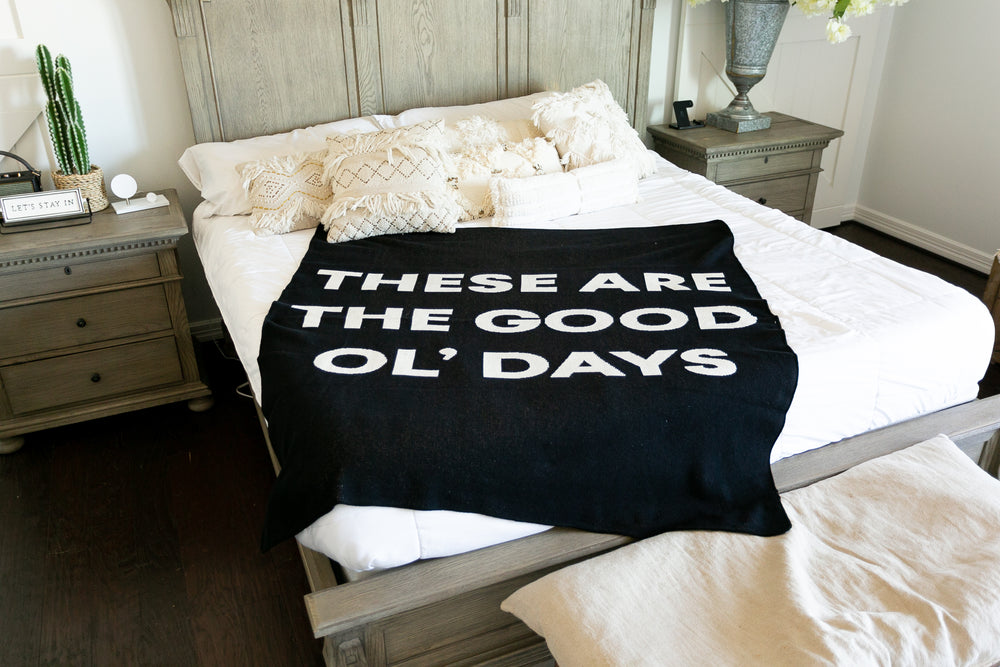 *NEW* Made in the USA | Recycled Cotton Blend These are the Good ol' Days Throw Blanket | Black