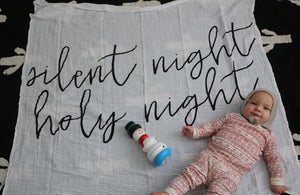 Load image into Gallery viewer, Organic Cotton Muslin Swaddle Blanket + Wall Art -  Silent night holy night