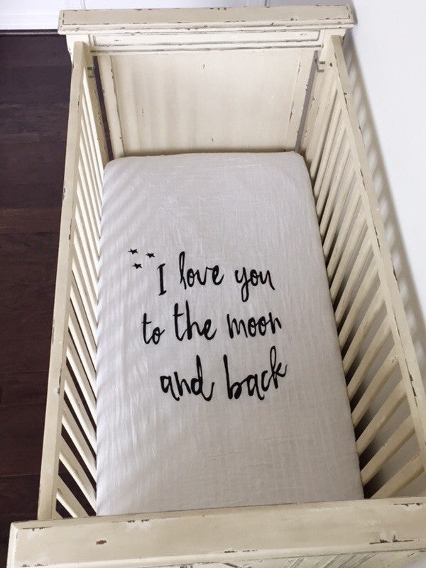 ORGANIC CRIB SHEET - I LOVE YOU TO THE MOON AND BACK