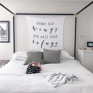 Organic Cotton Muslin Swaddle Blanket + Wall Art -  Psalm 91:4 Under His wings you will find Refuge