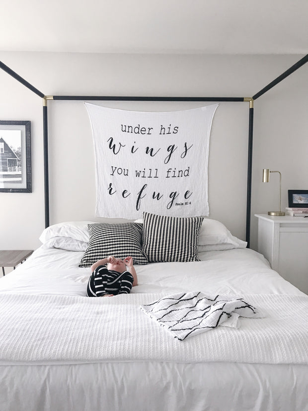 Organic Cotton Muslin Swaddle Blanket + Wall Art -  Psalm 91:4 Under His wings you will find Refuge 1