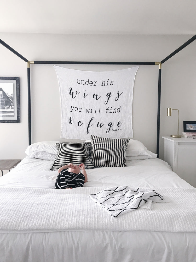 Load image into Gallery viewer, Organic Cotton Muslin Swaddle Blanket + Wall Art -   Under His wings you will find Refuge Psalm 91:4