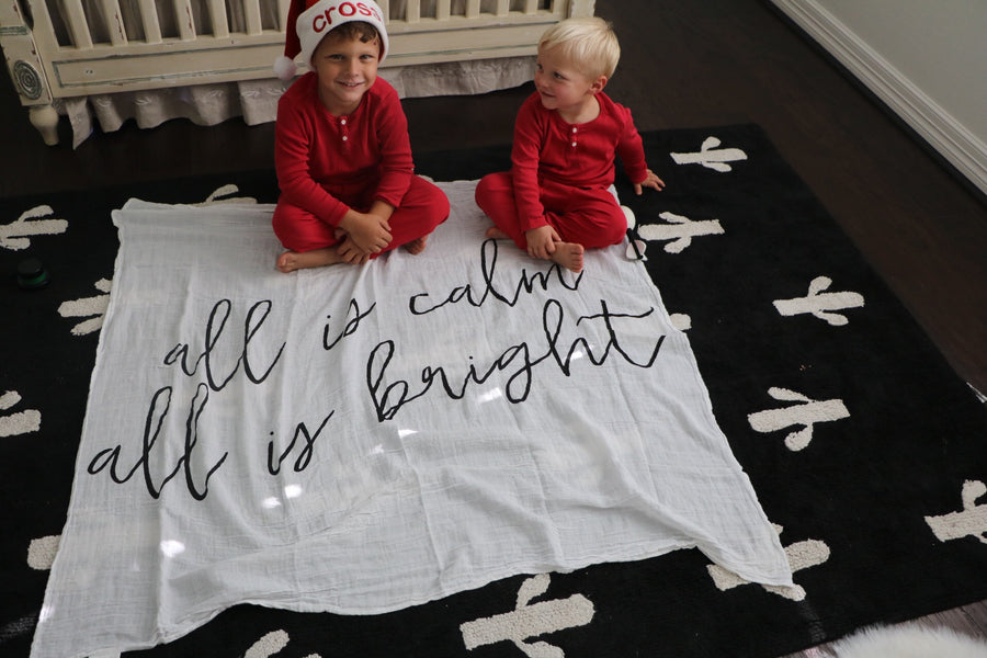 Organic Cotton Muslin Swaddle Blanket + Wall Art -  All is calm all is bright