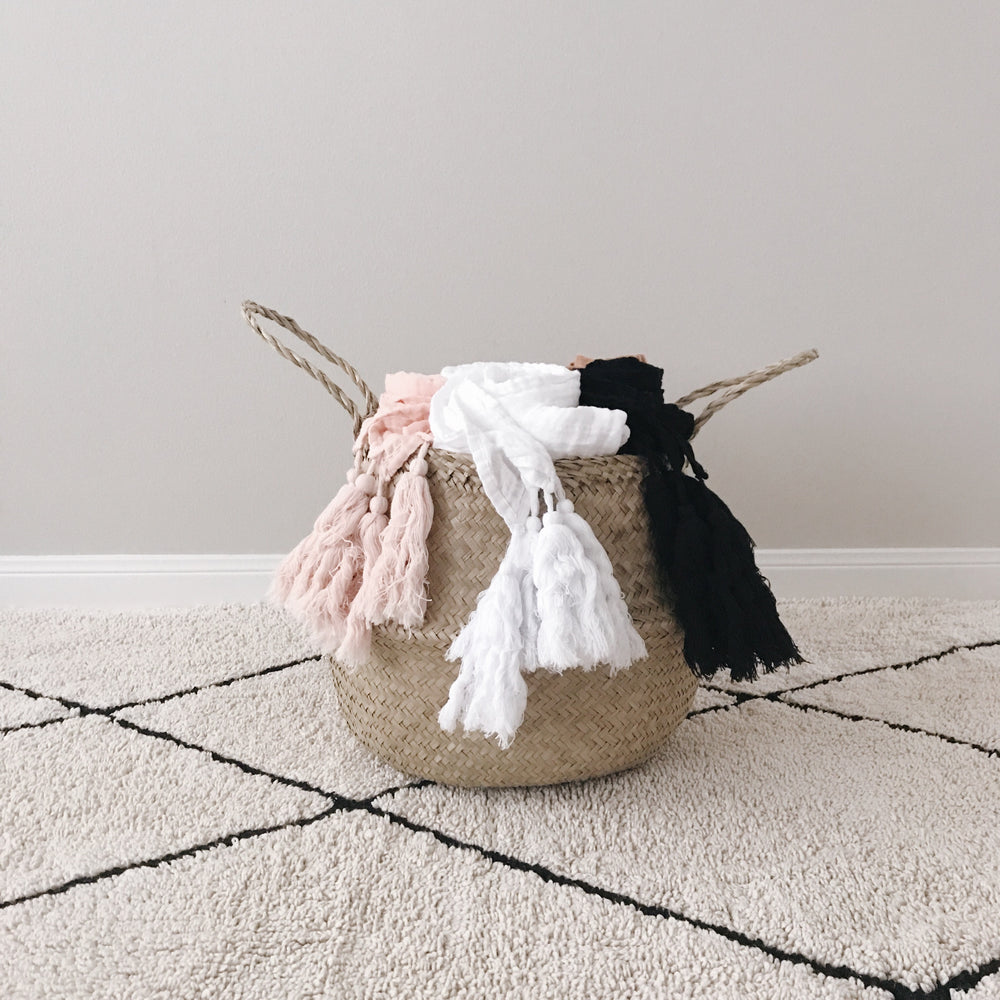 Load image into Gallery viewer, Organic Cotton Muslin XL Throw Blanket -   Dusty Pink Tassels